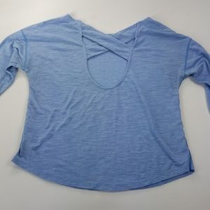 GAP FIT blue long sleeve athletic open back top L